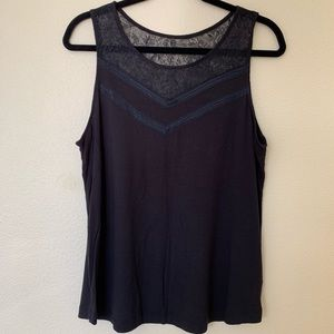 Black Tank With Lace Detail on Top.
